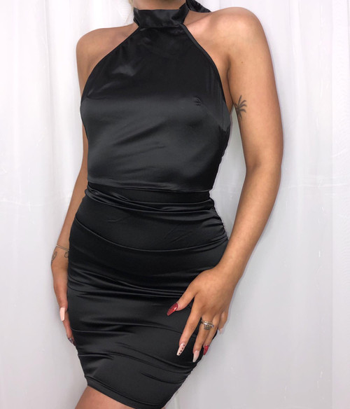 Black Halter Neck Satin Mini Dress