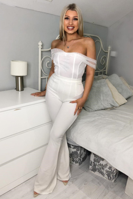 White Bardot Mesh Bodysuit