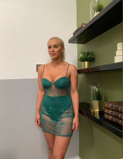Green Lace Mini Bodycon Dress