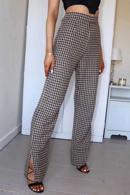 Brown Tweed Split Hem High Waisted Trouser