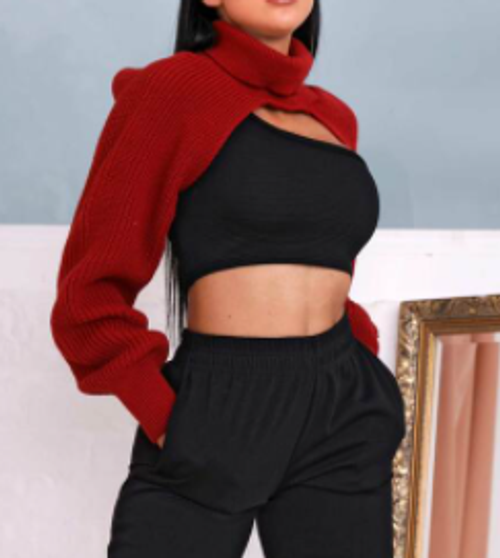 Red Extreme Cropped Polo Jumper
