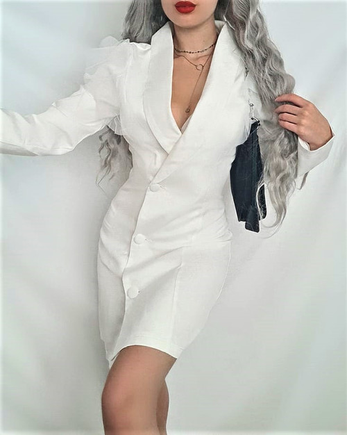 White Organza Blazer Dress