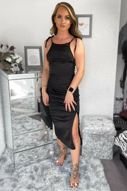 Black Extreme Split Satin Dress