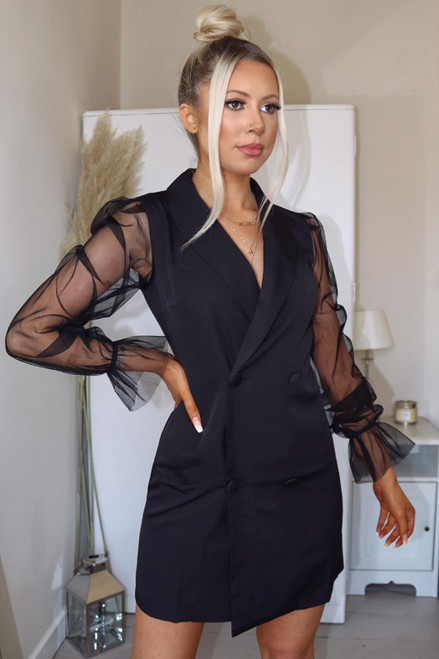 Black Organza Sleeve Blazer Dress