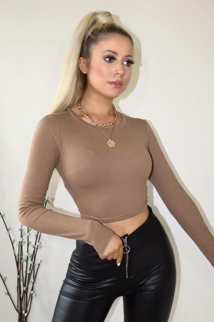 Black 3/4 Sleeve Basic Crop Top