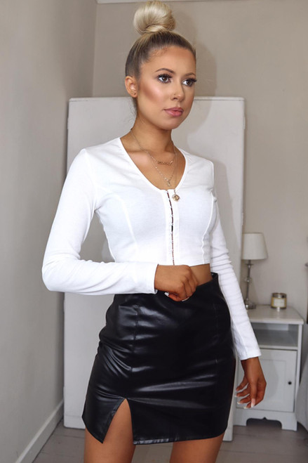 Black Side Split Faux Leather Mini Skirt