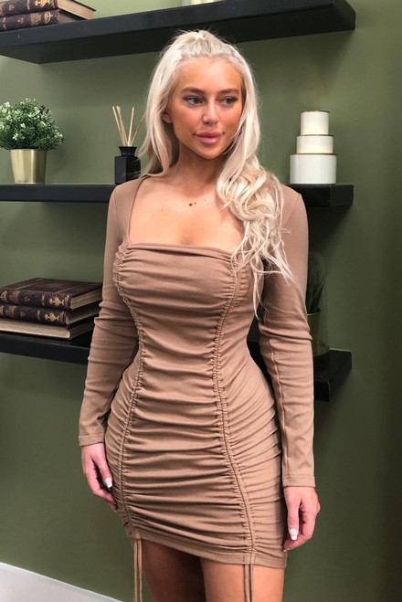 Stone Mesh Ruched Bodycon Dress