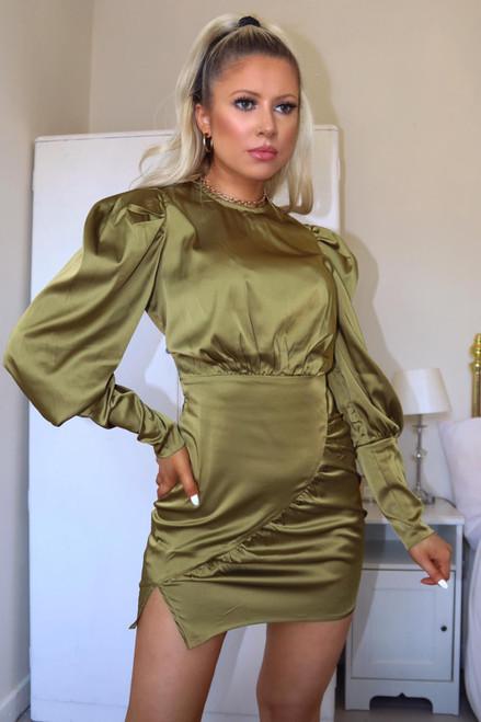 Green Satin Long Sleeve Dress