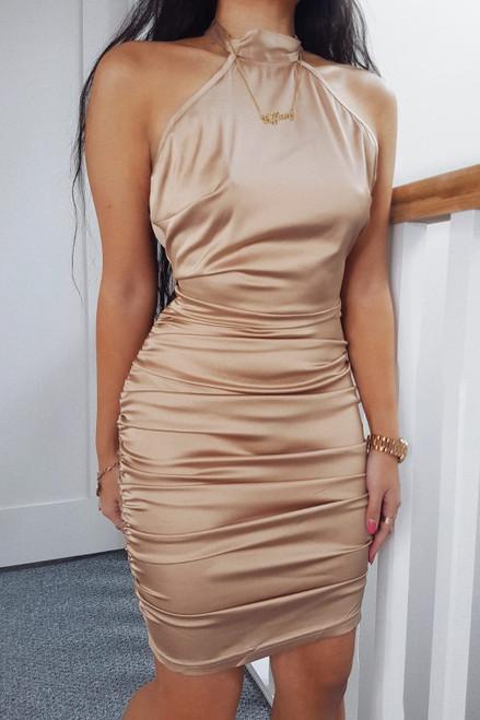 Gold Halter Neck Satin Mini Dress