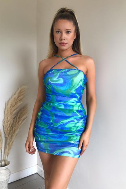 Blue Printed Ruched Mesh Mini Dress