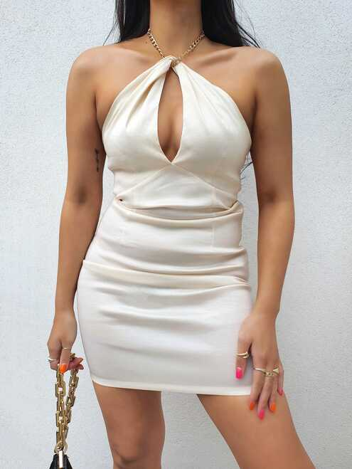 Off White Keyhole Cut Out Halter Mini Dress