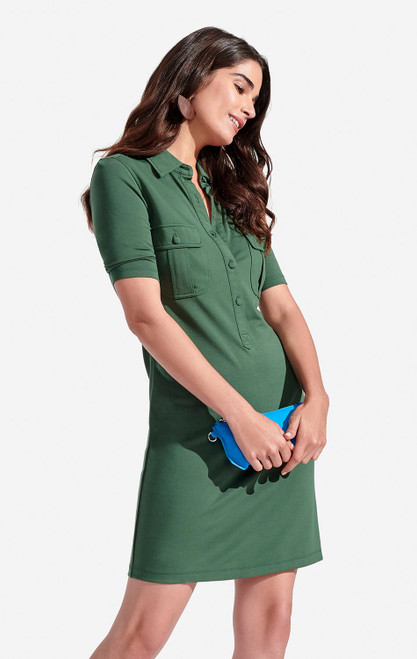 Persifor Solid Winpenny Dress in Rainforest green