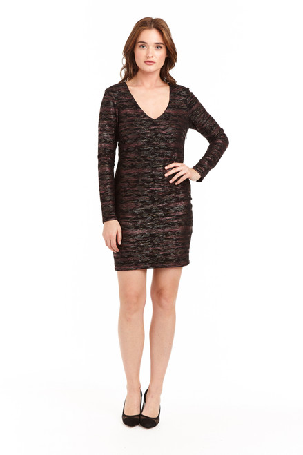 Drew Clothing Metallic long sleeve point audie Mir dress