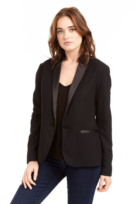 Drew Clothing Black Maya Tuxedo Single Breasted Blazer