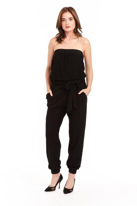 Drew clothing black Emerson metallic strapless jumpsuit jogger