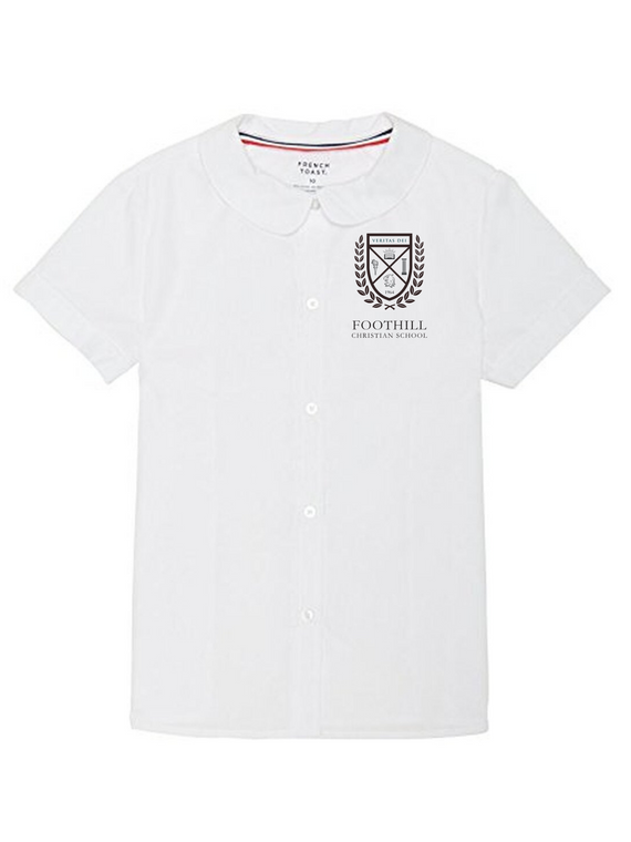 FCS Girls White Peter Pan Blouse w/ logo