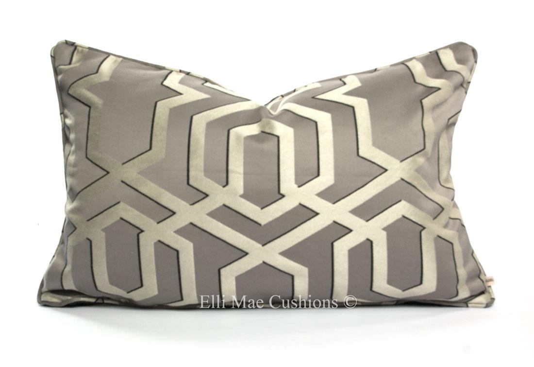 30x50cm Dove grey-silver .geometric  glam cushion cover