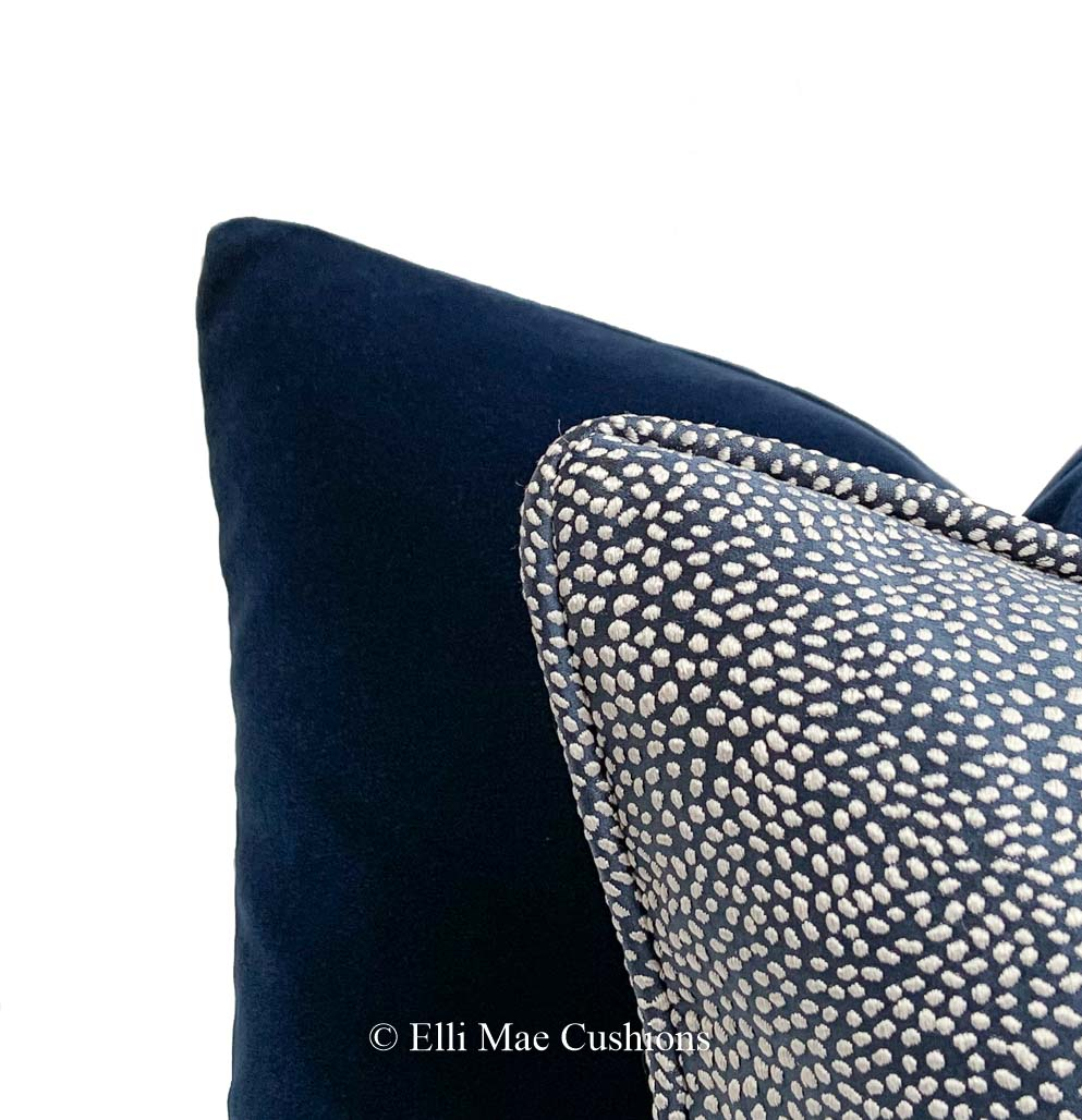 Designers Guild Luxury Cassia Plain Blue Velvet Cushion Pillow Throw Cover Elli Mae Cushions And Accessories