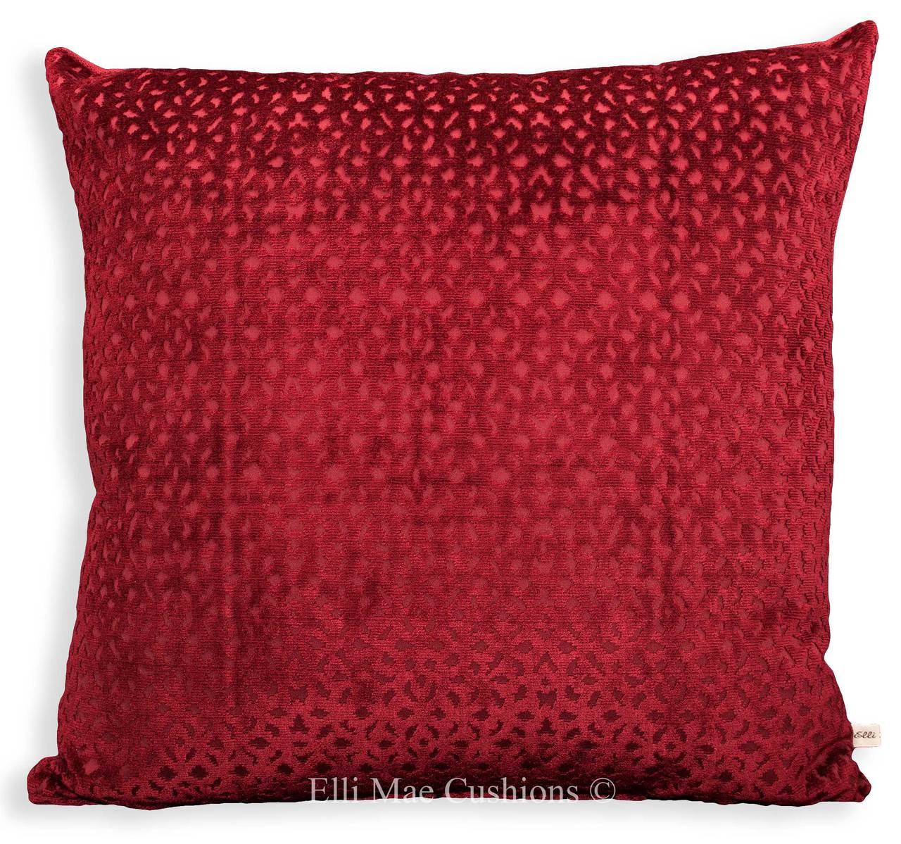 Designer Luxury Red Cut Velvet Large Sofa Cushion Throw Pillow Cover 2