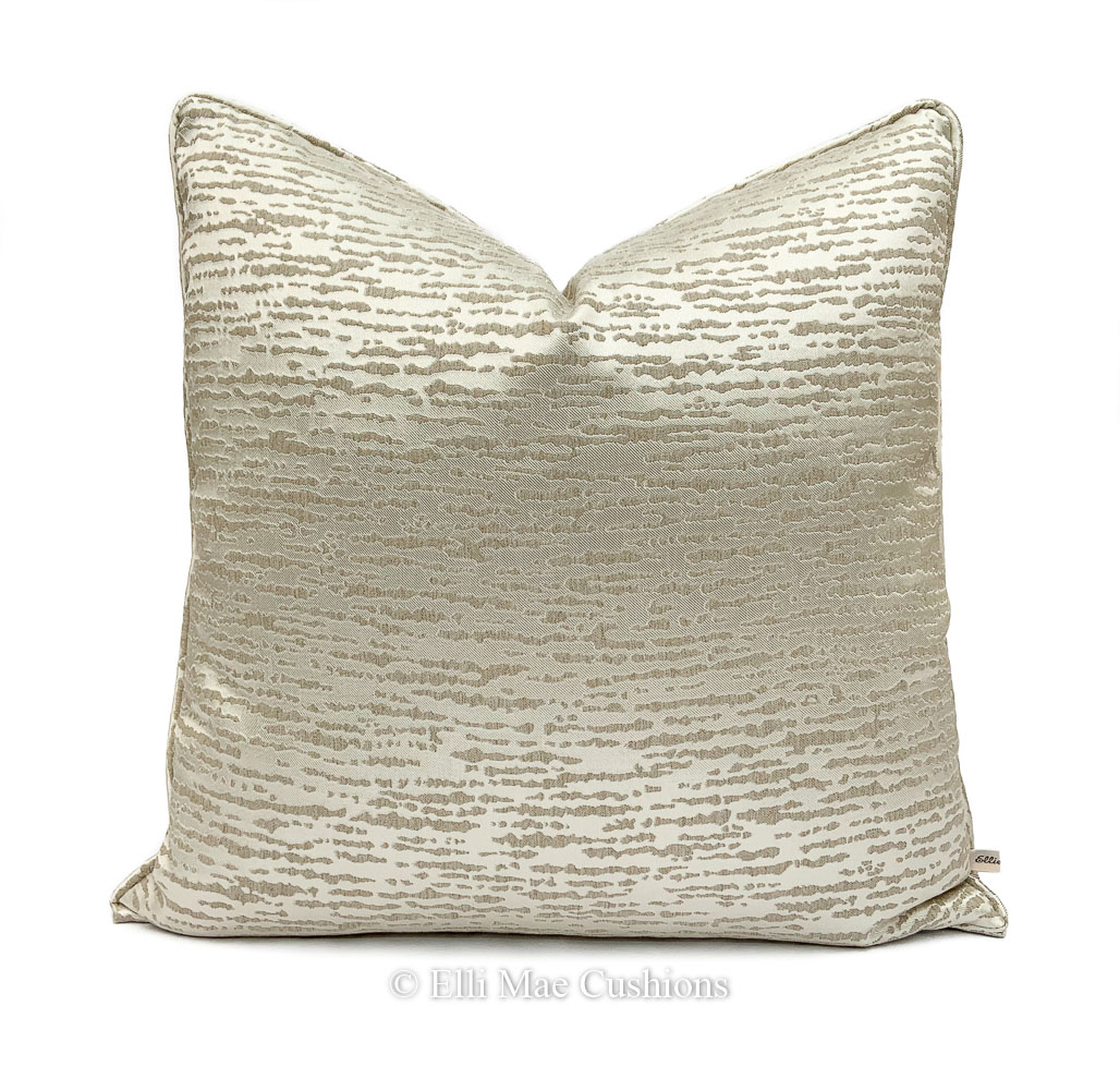 Luxury Designer Gold Cream Abstract Fabric Cushion Pillow Throw Cover Elli Mae Cushions And Accessories