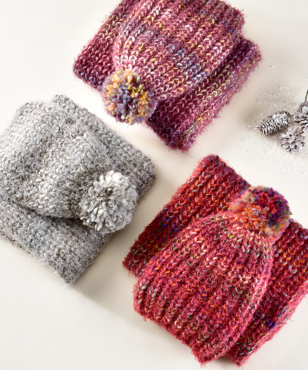 Ombre Winter Hat & Scarf Set  You favorite cold-weather outfit isn't complete without this striped set that includes an infinity scarf and a hat with a pompom on the crown. 3 Assorted Colors: Wine, Grey, Purple.