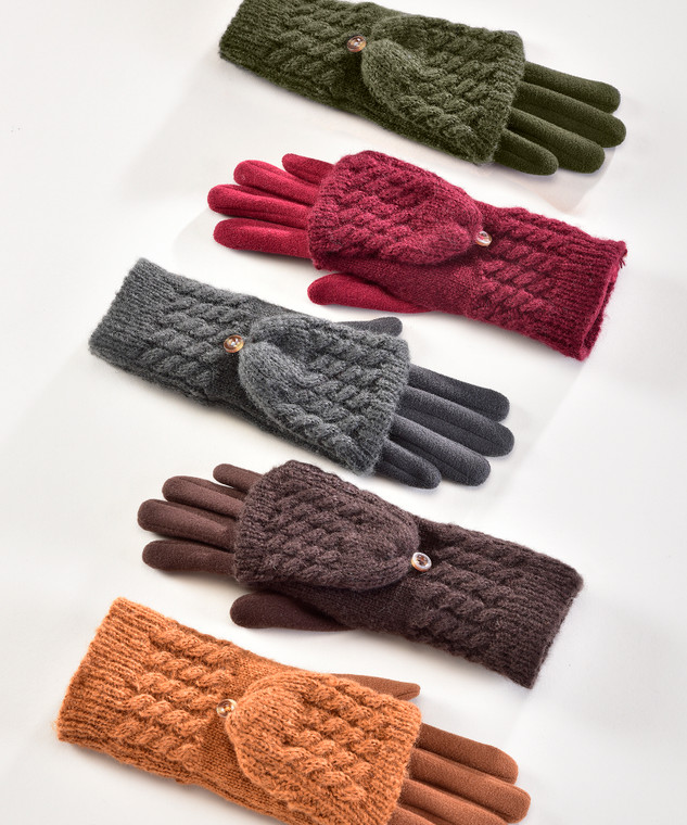 3 in 1 Multi Use gloves  These gloves convert easily into mitts with built-in flaps. Made with warm cable knit and touchscreen tips, they're perfect on cold days. Wear as Double glove, Mitten or a glove. Touch screen . 5 Assorted Colors: Pumpkin Spice, Port Royal, Brown, Rifle Green, India Ink. Polyester, Elastane.