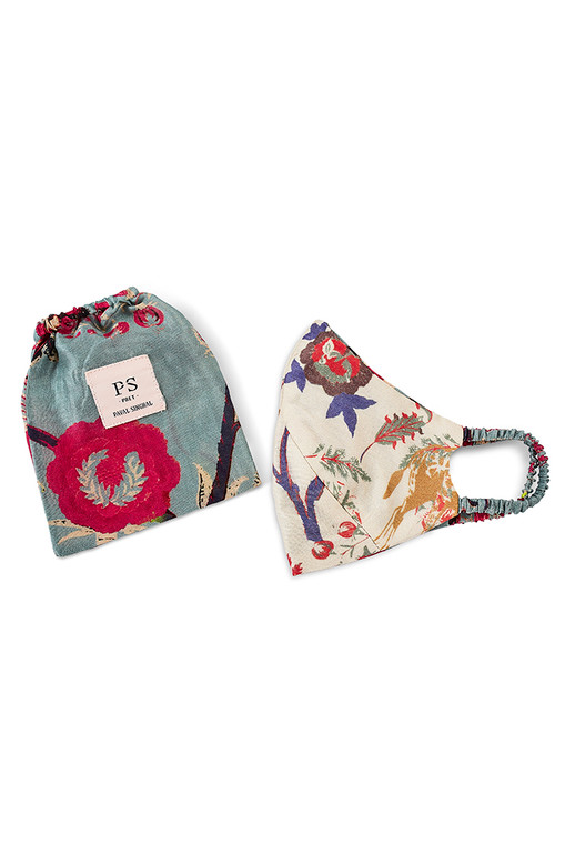 Giraffe & Chintz Reversable 3 Ply Mask with Pouch