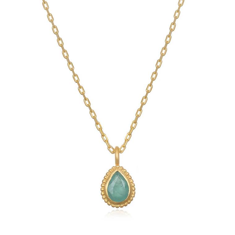 Emerald - Gold Healing Gemstone Drop Necklace 18-inch