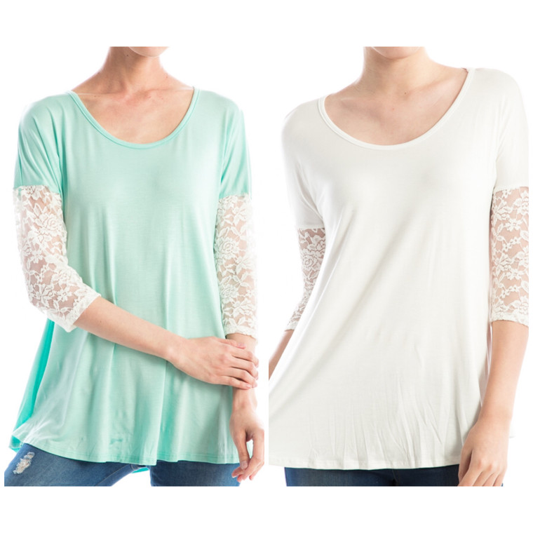 Anemone Lace Top  95% Rayon  5% Spandex  Loose fit with stretchable lace on the sleeves