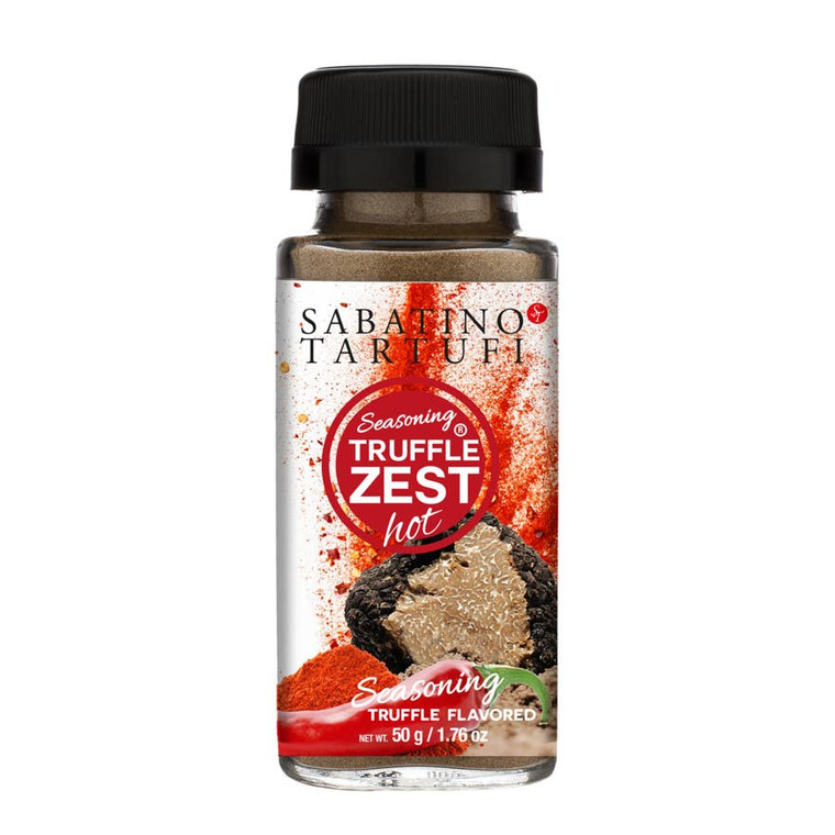 Truffle Zest Hot  The revolutionary truffle zest is a black summer truffle powdered seasoning. Sprinkle onto eggs, pasta, pizza, risotto, meats, fish, popcorn, and potato chips. Fold into butter, purees, cream sauces, and hummus. Low calorie and Low sodium. 1.76 oz