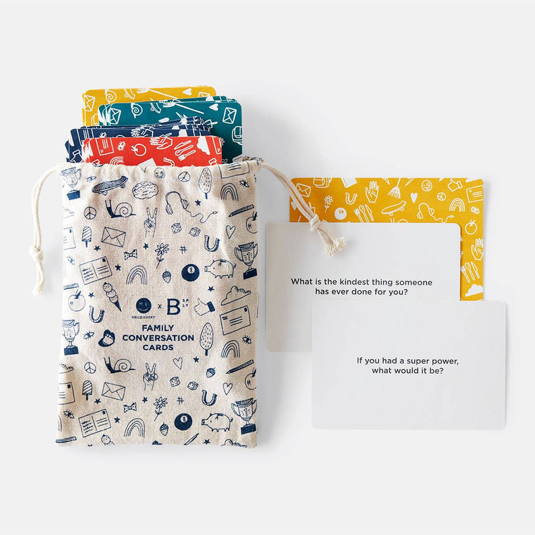 These conversation starters will make you want to put your devices away and indulge in some quality face-to-face time. Designed by our friends at Hello!Lucky. 100 cards, includes canvas pouch for easy storage.