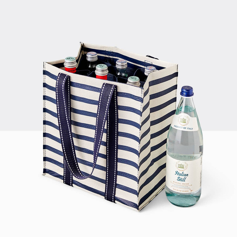 "Haul it all, from groceries to wine bottles and snacks, this bag holds 6 bottles with moveable compartments. Take it with you to the store or field. Holds 6 bottles. Drop Handle Length: 10"". 12.5""H x 11.5""W x 7.5""D. Made of 80% post-consumer material."