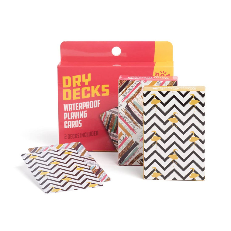 Flamingo Dry Deck-2 Decks of Waterproof Playing Cards Dry decks™ are waterproof, won't stick together and easy to clean. Perfect for any gathering or getaway you won't have to worry about splashes or spills, they're even kidproof!