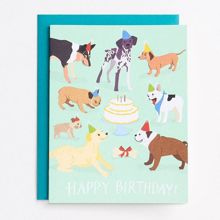 Dog Birthday Party A2 Single Card  Each single card is packaged in a clear cellophane bag with a corresponding envelope.