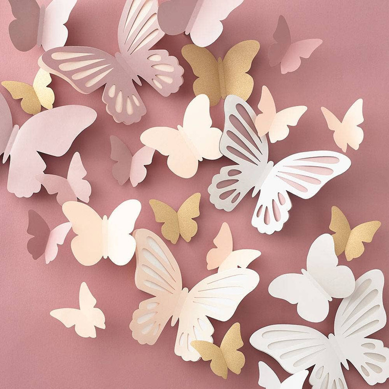"""Let butterflies flutter around your room or as a backdrop with our fluttering butterflies kit! Kit includes: pre-cut shapes. Tools needed: double stick tape or glue stick and bone folder (optional). Kit makes: 34 butterflies in assorted sizes: (20) 3.5""""h x 4""""w; (10) 4.5""""h x 6""""w and (4) 7.5""""h x 10.5""""w. Skill level 2 of 4."""