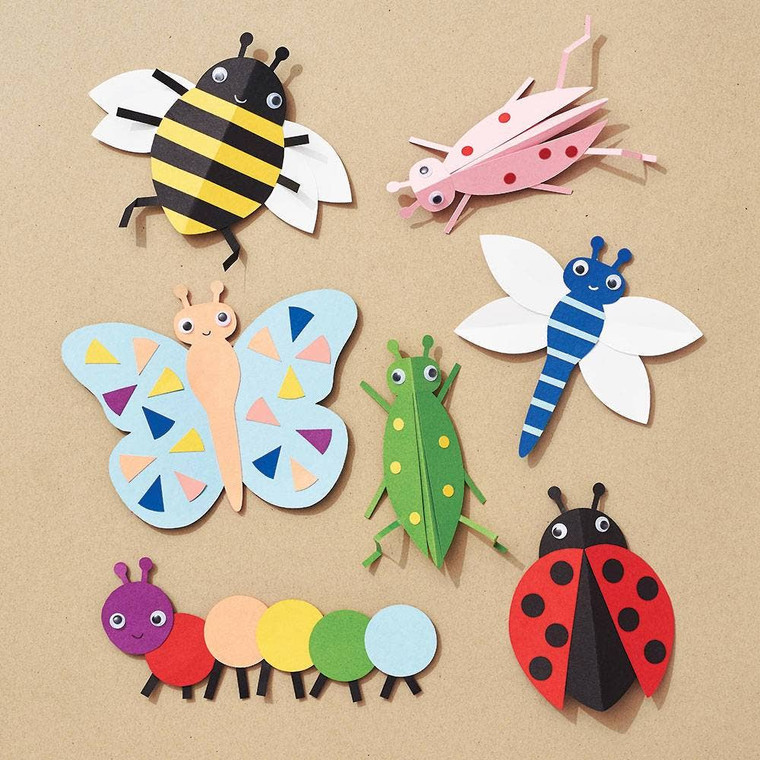 """Bugs DIY Craft Kit Create your very own crazy caterpillar or beautiful butterfly with our Bugs Paper Craft Kit. Kit includes pre-cut shapes and googly eyes. Tools needed are glue sticks, scissors, 1/4"""" hole punch, black pen, white pen, ruler (optional). Kit makes 12 bugs measuring approximately 5"""" H x 3.5"""" W. Skill level 3 of 4"""
