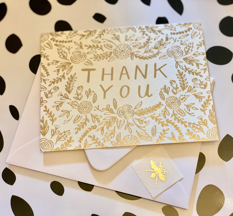 Gold Floral Thank You Foil Card