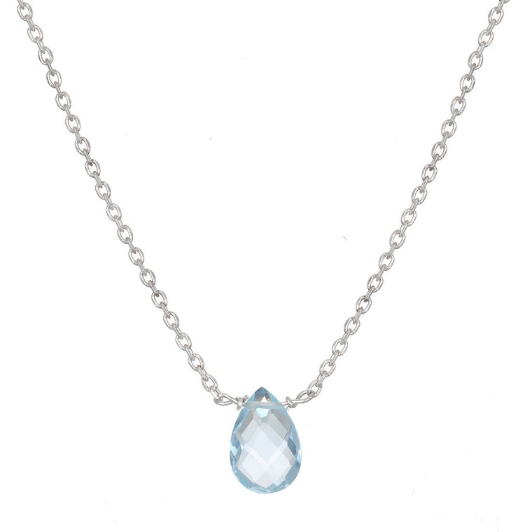 Conveyance of Wisdom Necklace  With each spoken word, let wisdom and kindness be conveyed. A faceted blue topaz droplet floats from a sterling silver chain, creating an understated, elegant necklace.