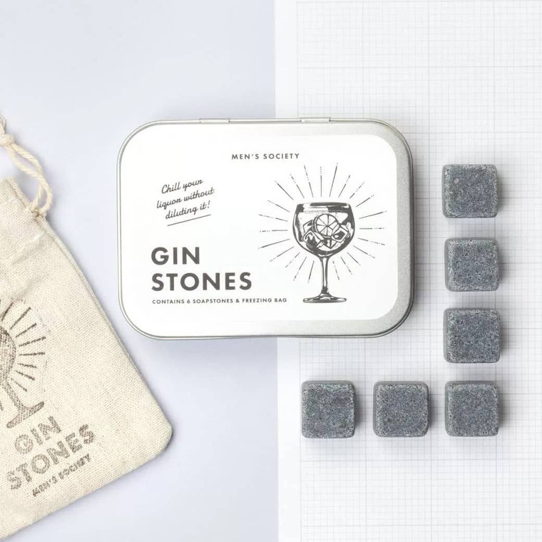 GIN COOLING STONES  Use instead of ice to keep their gin refreshingly cold. Chiselled from volcanic soapstone, these stones are designed to be used time and time again. Explore our other gin gifts.