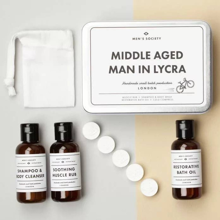 MIDDLE AGED MAN IN LYCRA  The go-to gift set for any middle aged man who loves his bike. Everything that any cyclist could need (except their bike and a helmet, obviously!) The kit contains, 50ml Bath Oil, 50ml Shampoo & Body Cleanser, 50ml Muscle Rub, 5 x Expanding Face Towels.