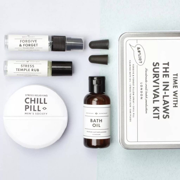 TIME WITH THE IN LAWS SURVIVAL KIT The perfect gift for your partner if they're going to have to spend any extended time with your parents. It's got everything they need to keep calm and smile through the stress.