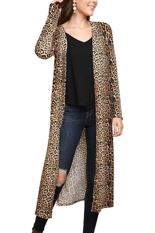 Cheetah Long Cardi - Camel