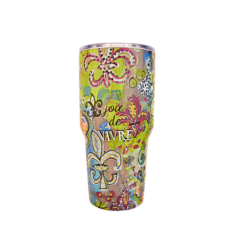 """C'EST LA VIE"" STAINLESS STEEL TUMBLER Insulated Tumbler ""C'est La Vie"" Double-wall, vacuum insulated stainless steal Holds 30 ounces of fluids (hot + cold) BPA free Keeps drinks hot or cold for over 12 hours! Doesn't sweat, so your hands stay dry!"
