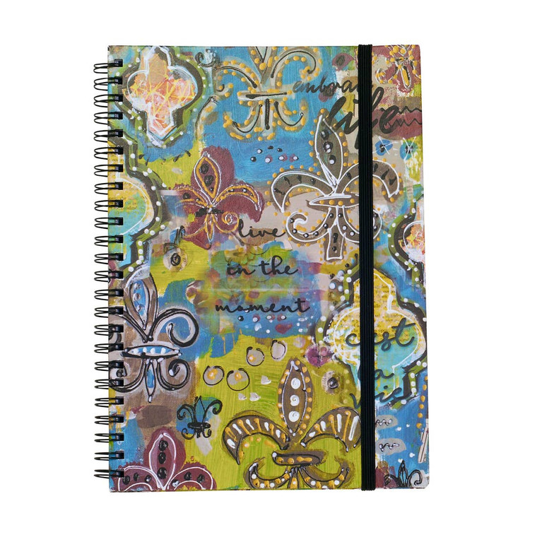 """""""LIVE IN THE MOMENT"""" Notebook Hard Cover Spiral Bound Notebook 75 Lined Pages 6""""x 8""""in"""