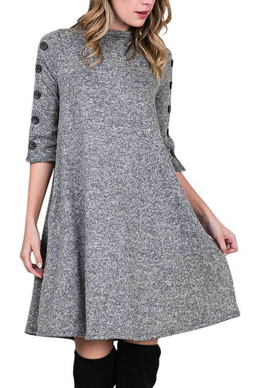 Button Sleeve Dress