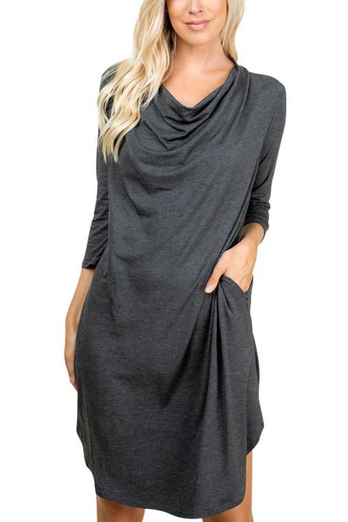 Cowl Knee Length Dress