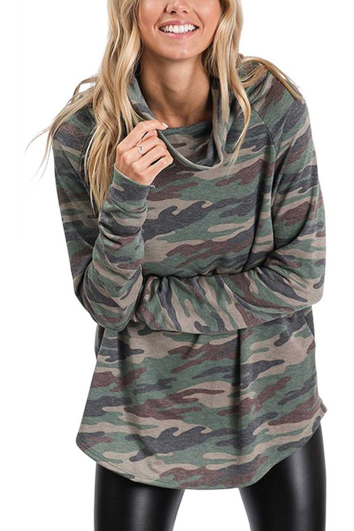 Our Camo Cowl Top is soft and cosy without being too heavy. Its the perfect leangth to pair with leggings or jeans. Loose cowl turtle neck.