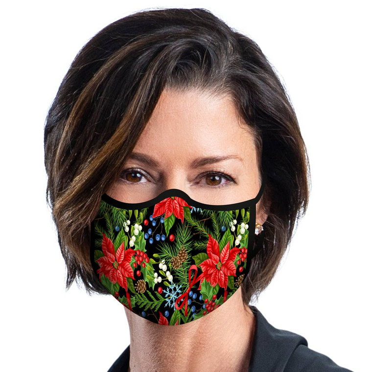 "Poinsettias Print Reusable Fabric Mask Stay connected, stay protected and do your part to protect others. Face masks are part of the ""new normal"" and a must for public and group activities such as shopping, travel, and social interactions. RainCaper adds artful style to fit and function with a gorgeous collection of reusable fabric face masks designed to flatter and protect. • Inside pocket hold 5-layer PM2.5 disposable filter insert (1 included; replacement filters available) • Contoured mask design ""hugs"" chin; will not ride up into eye area • Adjustable ear loops for all-day comfort • Mask design does not interfere with eyeglasses • Adjustable nose bridge for a snug fit   • Durable yet breathable woven 3-layer polyester fabric • Individually packaged • Machine washable; dryer safe • One size fits most"