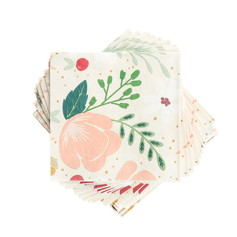 """Take the guesswork out of party place settings with our mix and match themed collections of paper supplies. Beautifully designed, these napkins are sure to add a unique splash to any party.  20 Napkins 5"""" square"""