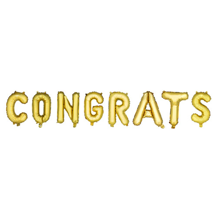 """String your party into overdrive with helium free balloon banners! The fun don't stop til' these pop! Set of 8 balloons Air inflate 14"""" letter balloon Includes string"""